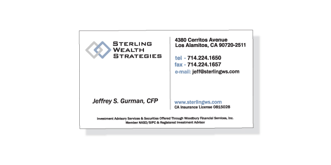 Print - Identity - Business Card Design - Client: Sterling Wealth Strategies